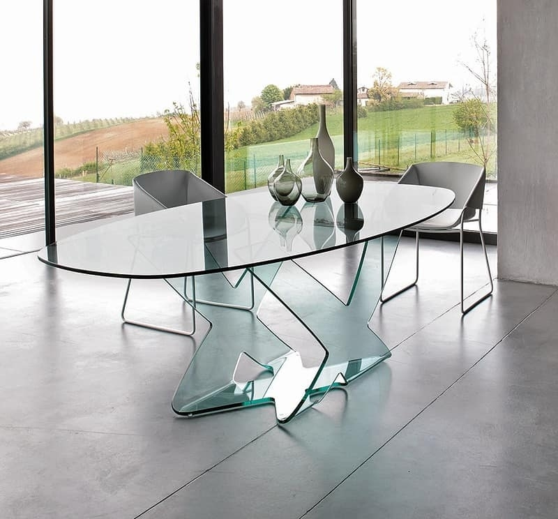 Dining Table In Curved Glass, For Modern Living Room | Idfdesign For Curved Glass Dining Tables (Image 12 of 25)