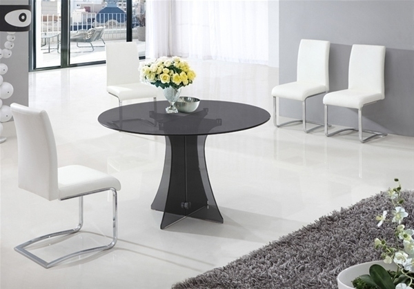 Dining Table In Smoked Round Glass And 6 White Chairs  Homegenies Pertaining To Smoked Glass Dining Tables And Chairs (Image 6 of 25)