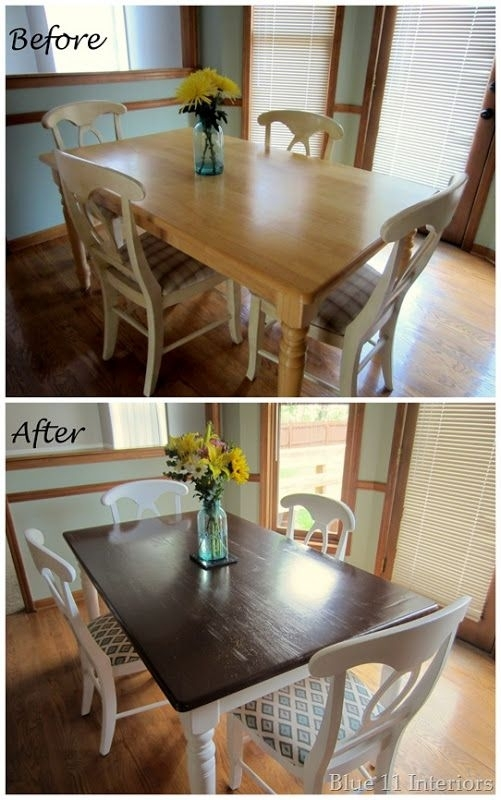 Dining Table Makeover: Before And After Dark Top With Light White throughout Washed Old Oak & Waxed Black Legs Bar Tables
