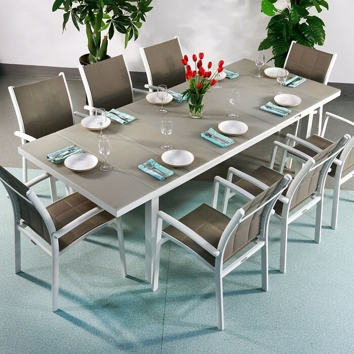 Dining Table Set Beatrice White & Champagne – 8 Person Aluminium For White Dining Tables 8 Seater (Image 11 of 25)
