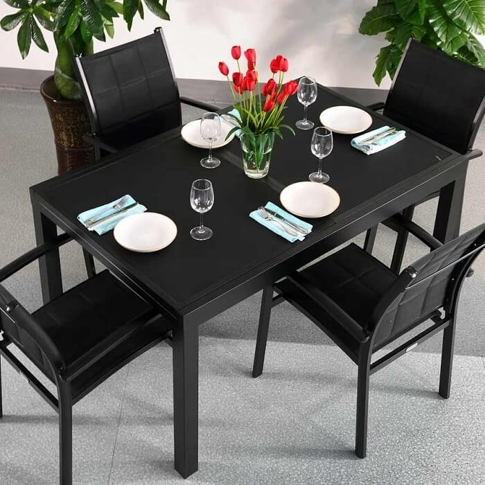 Dining Table Set Daisy Black – 4 Person Aluminium & Glass Extension Throughout Black Extendable Dining Tables Sets (Image 10 of 25)