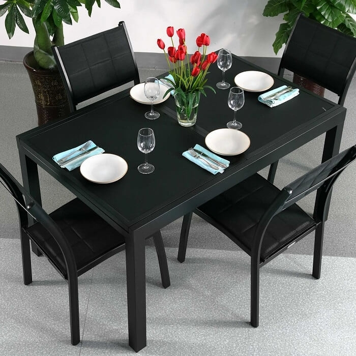 Dining Table Set Daisy Black – 6 Person Aluminium & Glass Extension Pertaining To 6 Seat Dining Table Sets (View 19 of 25)