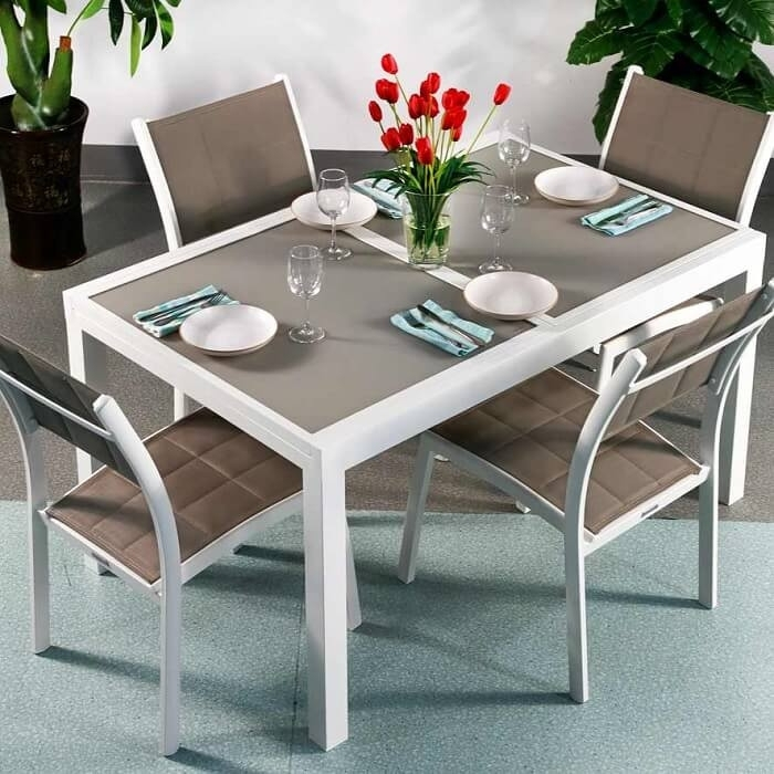 Dining Table Set Daisy White & Champagne – 4 Person Aluminium With Regard To 4 Seater Extendable Dining Tables (View 7 of 25)