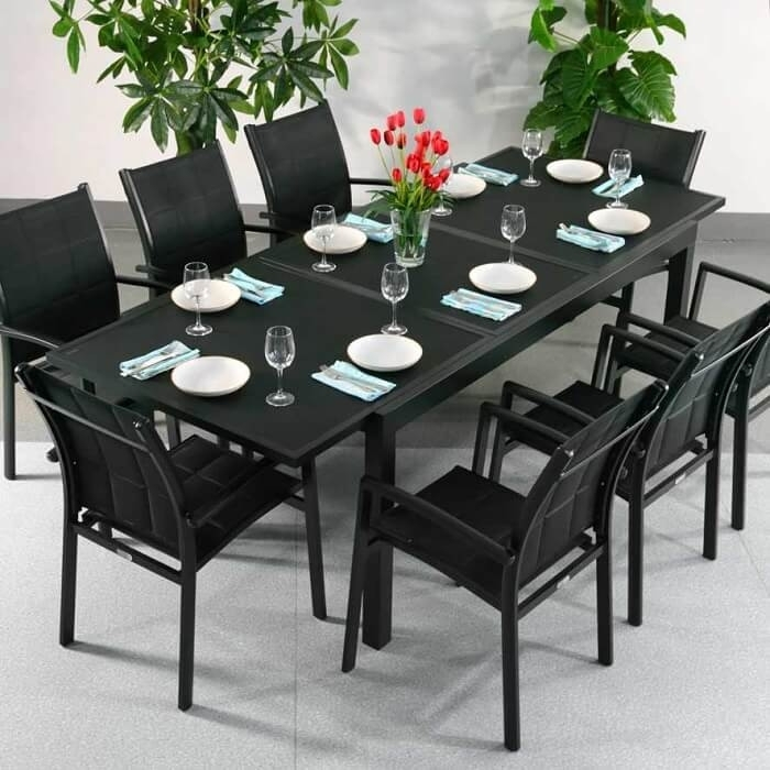 Dining Table Set Florence Black – 6 Person Aluminium & Glass Inside Dining Tables Black Glass (View 23 of 25)