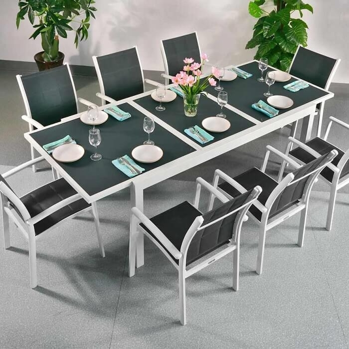 Dining Table Set Florence White & Grey – 8 Person Aluminium & Glass Throughout Florence Dining Tables (Image 3 of 25)