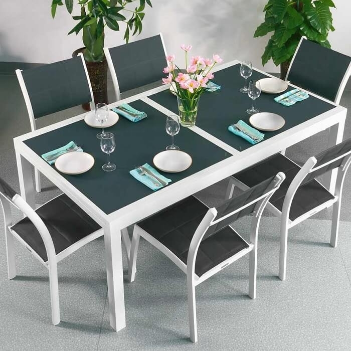 Dining Table Set Florence White & Grey – 8 Person Aluminium & Glass Within Extending Dining Room Tables And Chairs (View 22 of 25)