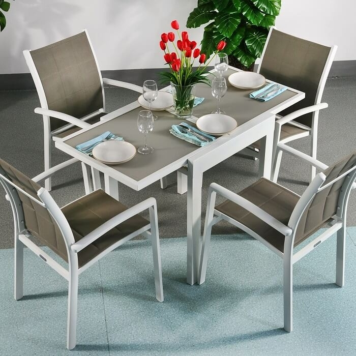 Dining Table Set Poppy White & Champagne – 4 Person Aluminium Within 4 Seater Extendable Dining Tables (Image 16 of 25)