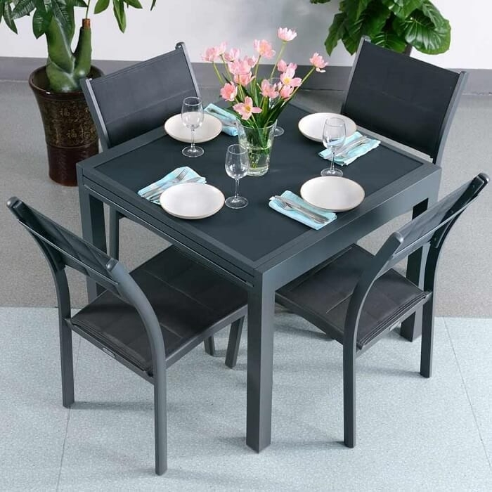 Dining Table Set Ruby Grey – 6 Person Aluminium & Glass Extension Pertaining To 6 Seater Glass Dining Table Sets (Image 11 of 25)