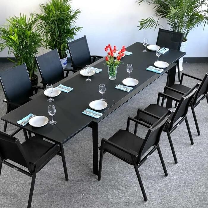 Dining Table Set Violet Black – 8 Person Aluminium & Glass Extension Within Black 8 Seater Dining Tables (View 18 of 25)