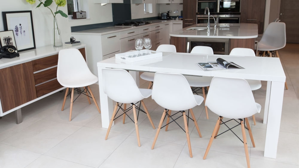 Dining Table Set White – Castrophotos Regarding Dining Extending Tables And Chairs (View 20 of 25)