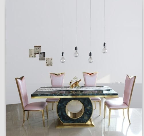Dining Table Set With Good Quality Marble Dining Table Black &rose Intended For Marble Dining Tables Sets (Image 11 of 25)