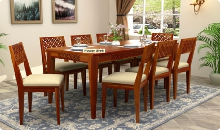 Dining Table Sets: Buy Wooden Dining Table Set Online @ Low Price Within Dining Tables With 8 Seater (Image 17 of 25)