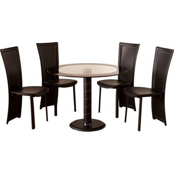 Dining Table Small Round Glass Dining Table Chairs Four Chair Dining Regarding Round Black Glass Dining Tables And 4 Chairs (Image 12 of 25)