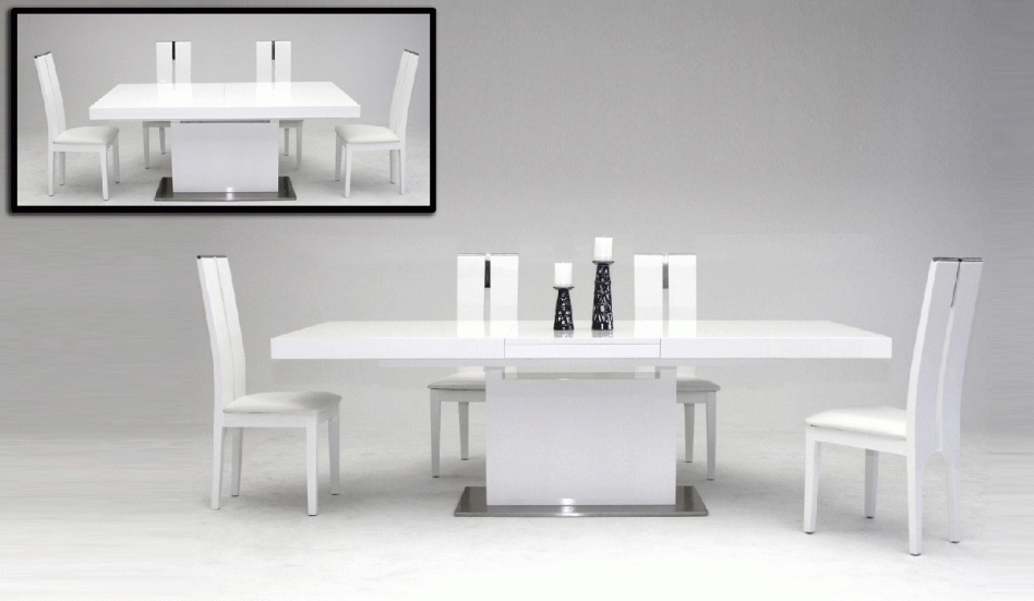 Dining Table: Terrific Modern White Dining Room Decoration Using Regarding White Square Extending Dining Tables (Image 7 of 25)