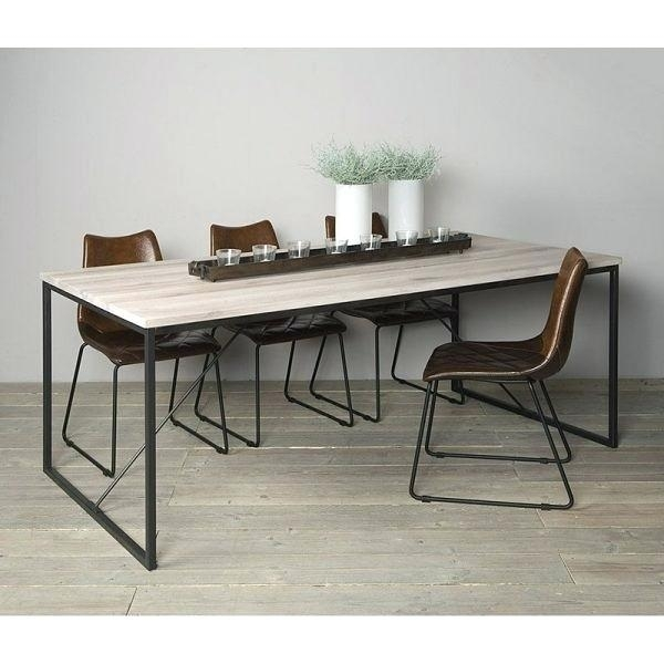 Dining Table White Legs Wooden Top Black And Dark Wood Combination Inside Dining Tables With Metal Legs Wood Top (View 15 of 25)