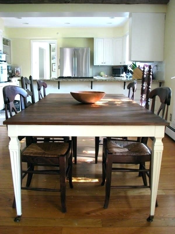 Dining Table White Legs Wooden Top Refinished Dinning Table I Have Regarding Dining Tables With White Legs And Wooden Top (Image 10 of 25)
