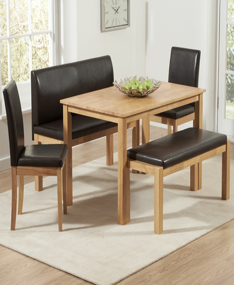 Dining Table With 2 Benches & 2 Chairs | Hamra Dining Set – Oak Pertaining To Dining Tables And 2 Chairs (Image 11 of 25)