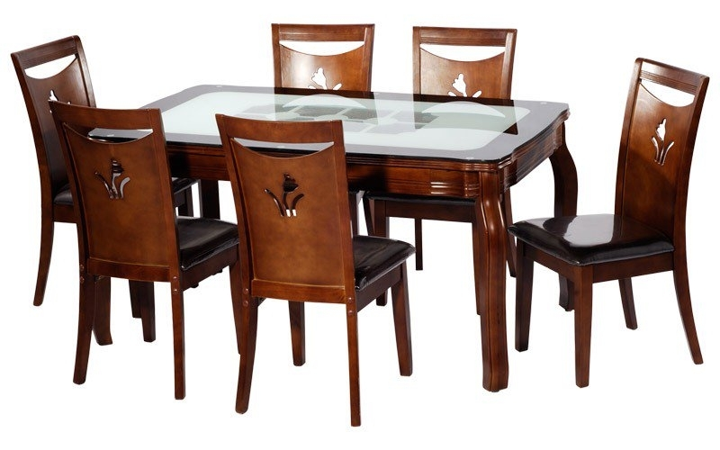 Dining Table (With 6 Chairs) Buy In Patna Regarding Wooden Dining Tables And 6 Chairs (View 18 of 25)