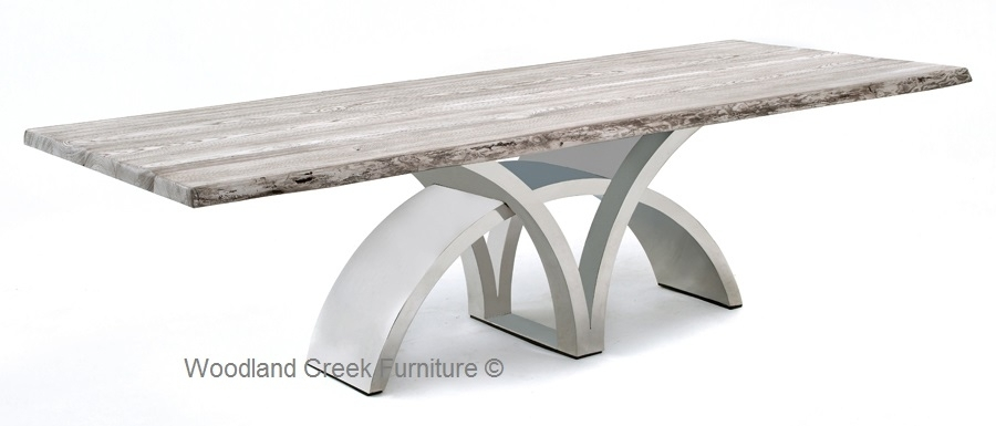 Dining Table With Contemporary Stainless Steel Base Inside Contemporary Base Dining Tables (Image 9 of 25)