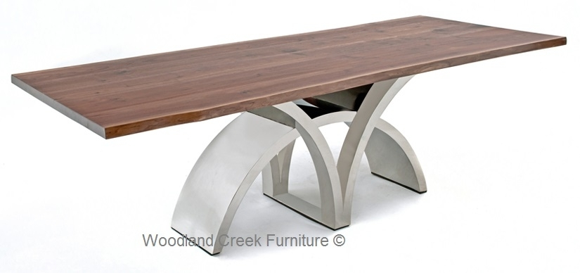 Dining Table With Contemporary Stainless Steel Base With Regard To Contemporary Base Dining Tables (Image 10 of 25)