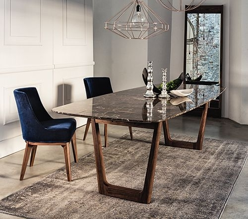 Dining Table With Emperador Marble Top And Walnut Base (Image 7 of 25)