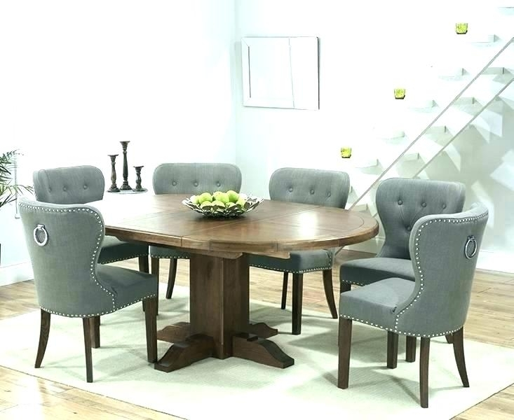 Dining Table With Fabric Chairs Oak Dining Table With Grey Fabric For Extendable Dining Tables And Chairs (View 21 of 25)
