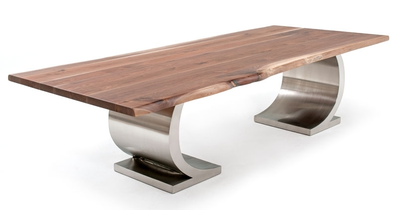 Dining Table With Modern Half Circle Base, Contemporary Regarding Contemporary Base Dining Tables (Image 13 of 25)