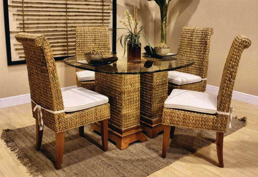 Dining Table With Wicker Chairs Rattan Chair Dark Wood And Bamboo Within Wicker And Glass Dining Tables (Image 4 of 25)