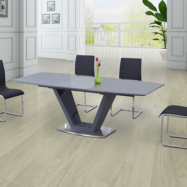 Dining Tables: Astonishing Grey Glass Dining Table Grey Round Dining Within Grey Glass Dining Tables (Image 9 of 25)