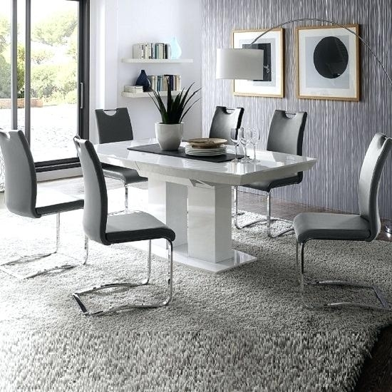 Dining Tables Category Chairs Grey And White Table Painted – Appbookbook For White Gloss Dining Room Furniture (Image 10 of 25)
