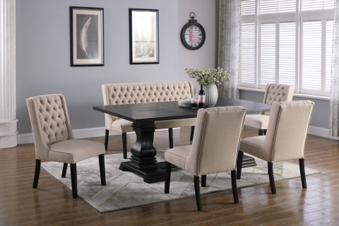 Dining Tables, Chairs, Servers – Hello Furniture Inside Jaxon Grey 6 Piece Rectangle Extension Dining Sets With Bench & Wood Chairs (Image 8 of 25)