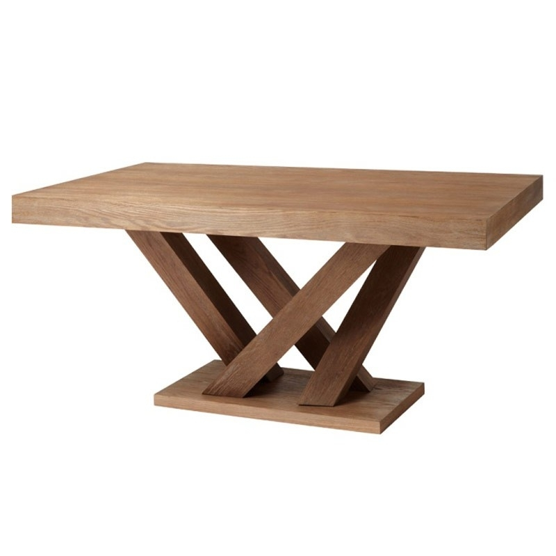 Dining Tables: Glamorous Rectangular Pedestal Dining Table Single For Caira Extension Pedestal Dining Tables (View 21 of 25)