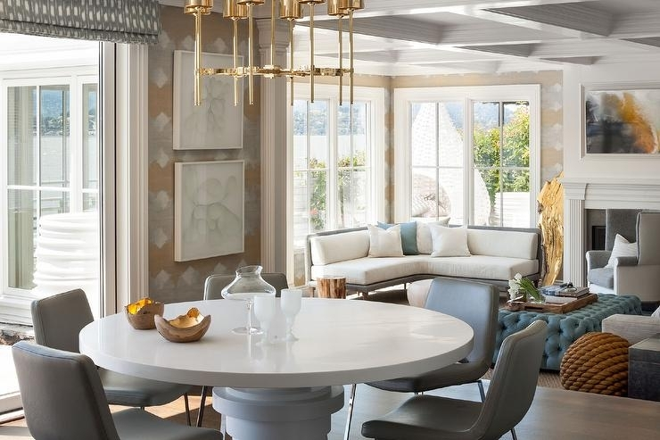 Dining Tables: Inspiring Gray Round Dining Table Gray Round Dining regarding White Circular Dining Tables