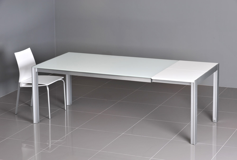 Dining Tables – Vola White Glassy Extendable Dining Table – Dining In White Extendable Dining Tables (Image 6 of 25)