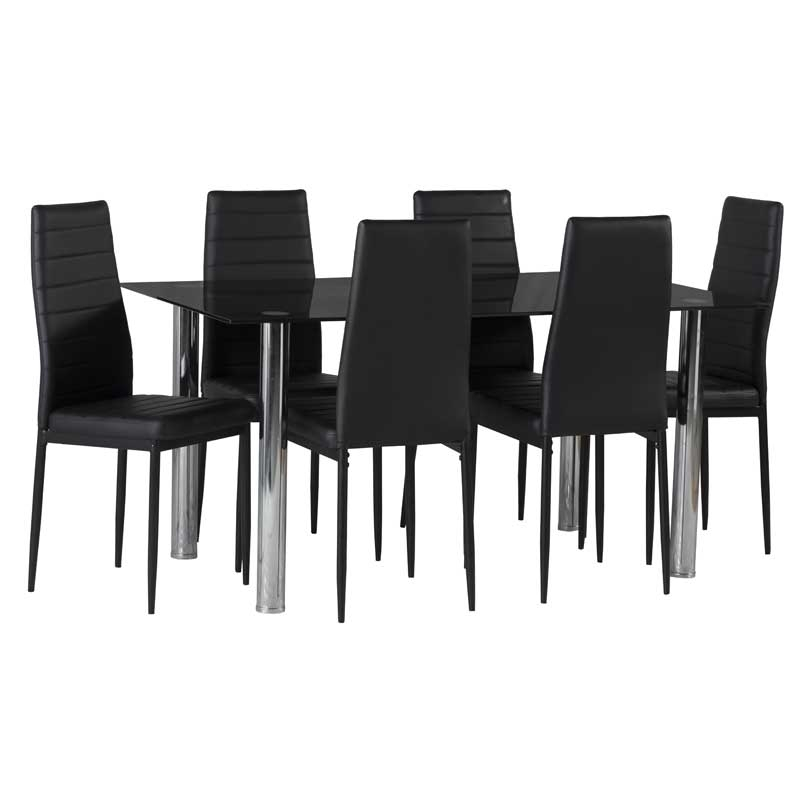 Dior Black Glass Dining Table & 6 X Betty Dining Chair • Decofurn in Glass Dining Tables and 6 Chairs