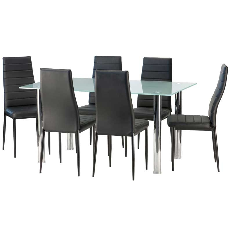 Dior Frosted Glass Dining Table & 6 X Betty Dining Chair • Decofurn Inside Smoked Glass Dining Tables And Chairs (Image 8 of 25)