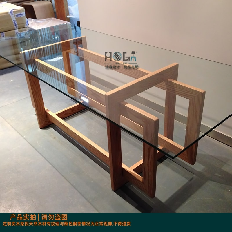 Direct Modern Minimalist 6 Seater Glass Dining Table Sets All Solid Inside Wood Glass Dining Tables (Image 10 of 25)