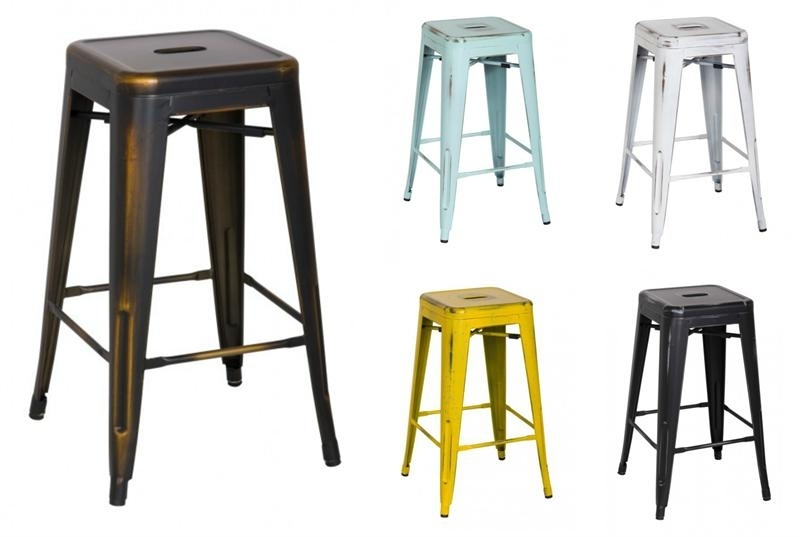 Distress Metropolis Metal Counter Stool Pertaining To Valencia 4 Piece Counter Sets With Bench & Counterstool (View 21 of 25)