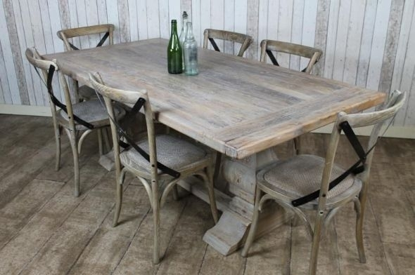 Distressed Limed Elm Table (Image 5 of 25)