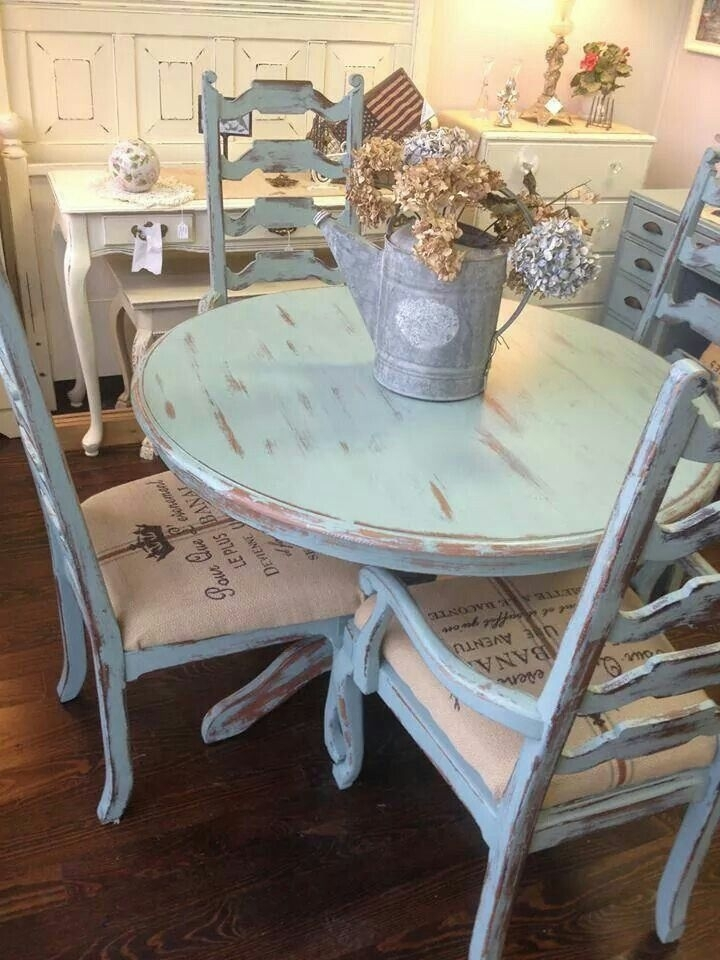 Distressed Pale Blue Shabby Table And Chairs | Forgotten Finds In Throughout French Chic Dining Tables (Image 7 of 25)