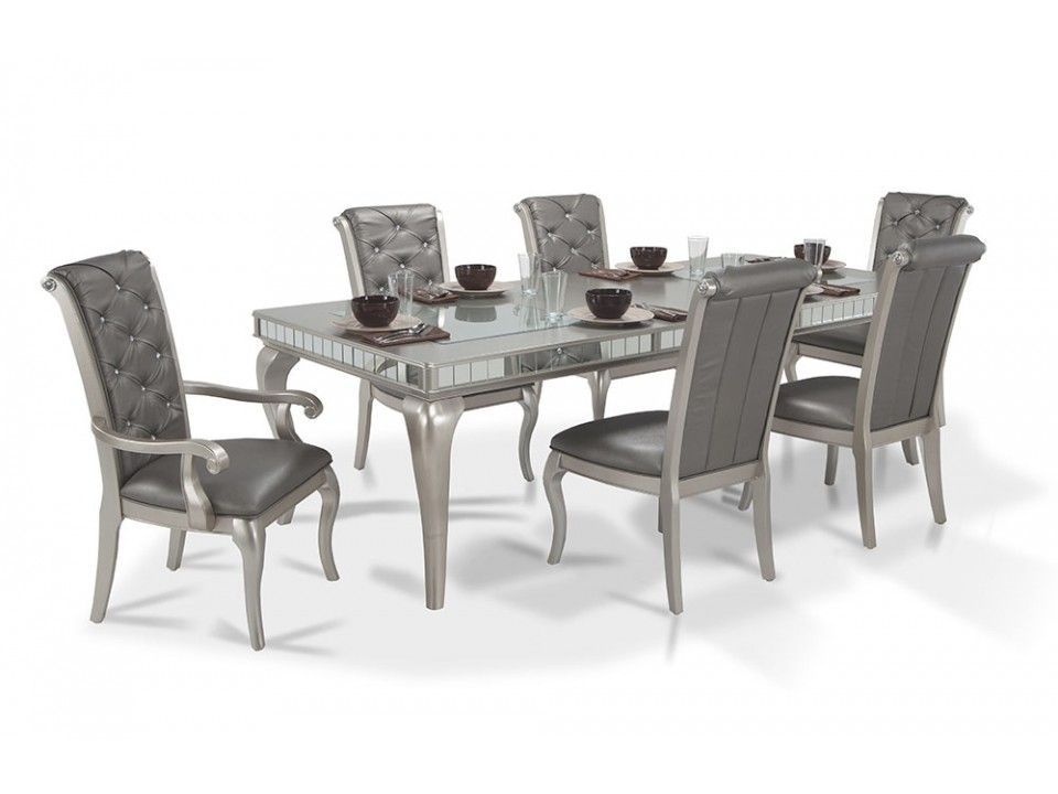 Diva 7 Piece Dining Set | Diva Dining | Dining Room Collections Throughout Valencia 5 Piece Round Dining Sets With Uph Seat Side Chairs (Image 13 of 25)