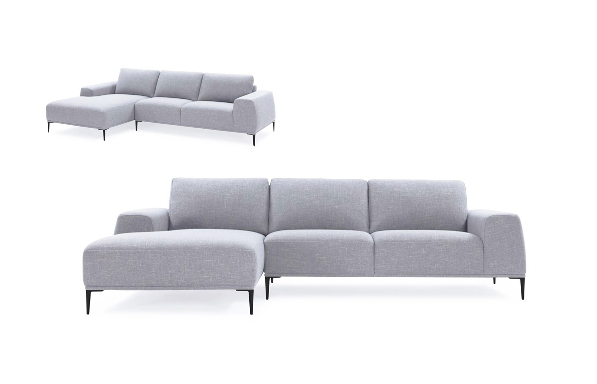Divani Casa Arthur Modern Grey Fabric Sectional Sofa W/ Left Facing In Norfolk Grey 3 Piece Sectionals With Laf Chaise (Image 5 of 25)