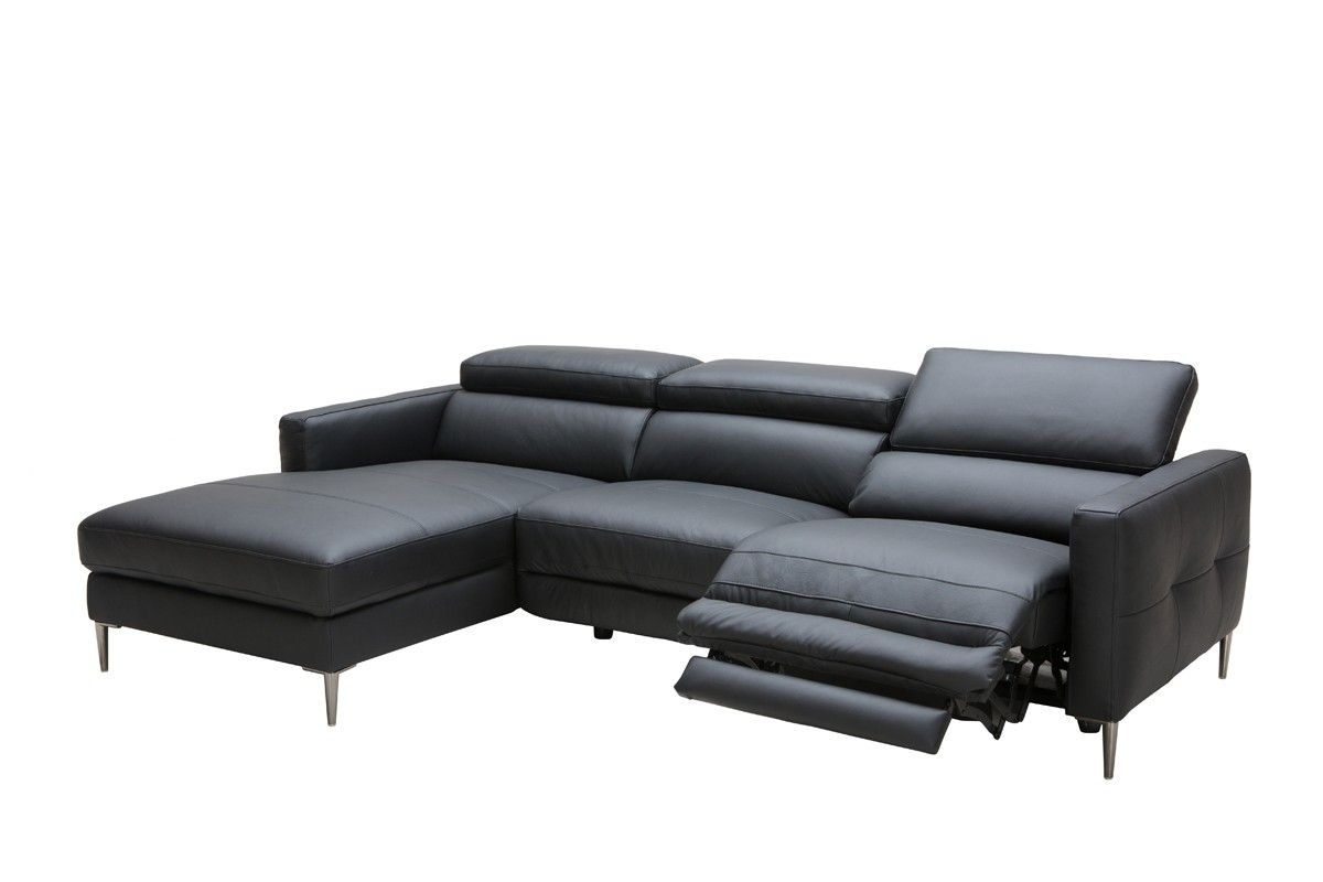 Divani Casa Booth Modern Black Leather Sectional W/ Electric Pertaining To Marcus Grey 6 Piece Sectionals With  Power Headrest & Usb (Image 12 of 25)