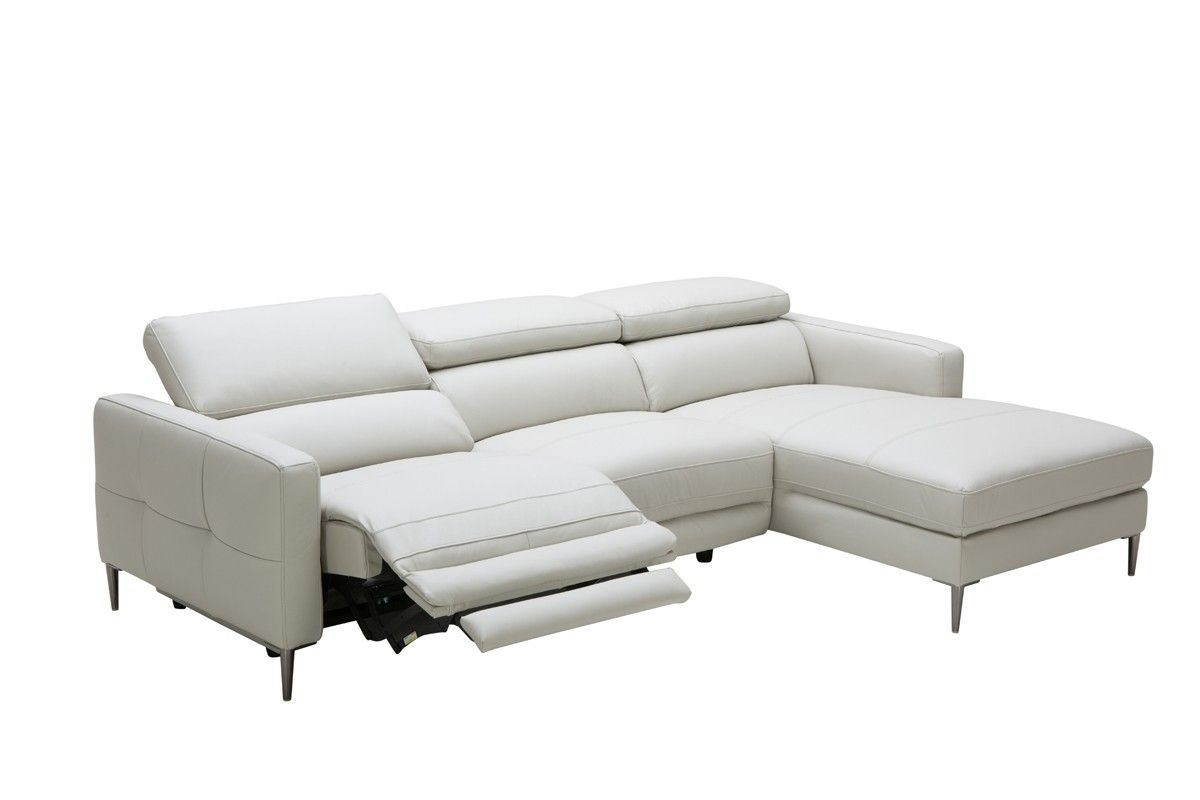 Divani Casa Booth Modern Light Grey Leather Sectional Sofa W For London Optical Reversible Sofa Chaise Sectionals (Image 8 of 25)