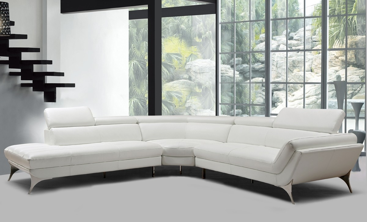 Divani Casa Graphite Modern White Leather Sectional Sofa – New Products Within Lucy Grey 2 Piece Sectionals With Raf Chaise (Image 10 of 25)