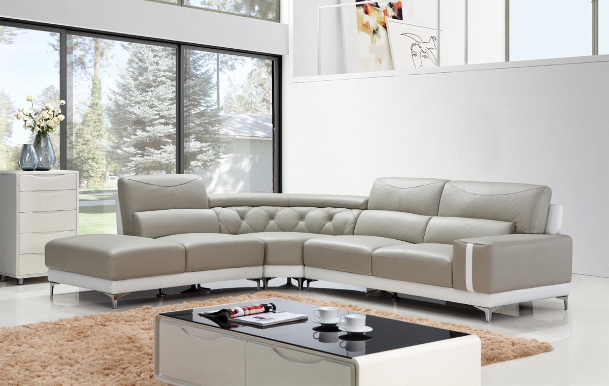 Divani Casa T739 Modern Grey & White Leather Sectional Sofa With Regard To Tatum Dark Grey 2 Piece Sectionals With Laf Chaise (Image 8 of 25)