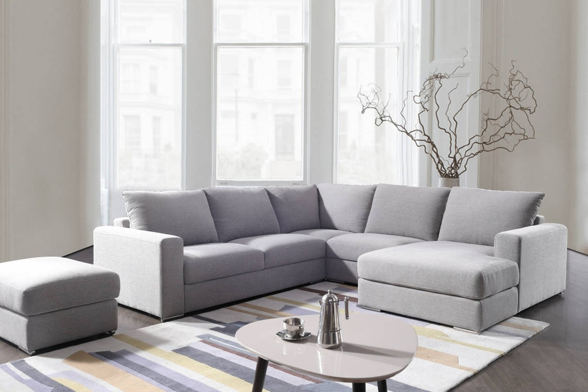 Divani Casa Valley Modern Grey Fabric Sectional Sofa & Ottoman Intended For Tatum Dark Grey 2 Piece Sectionals With Raf Chaise (View 24 of 25)