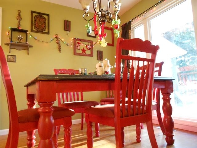 Diy Red Kitchen Table I Love This For The Kitchen!!! Add Black And Throughout Red Dining Tables And Chairs (View 20 of 25)