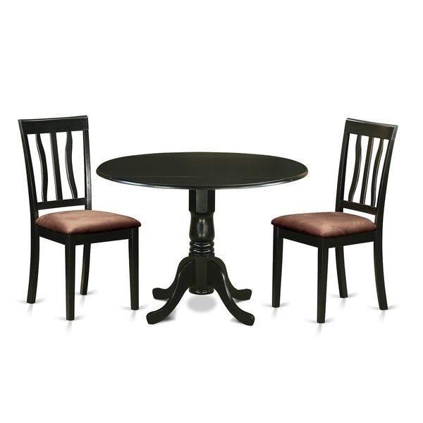 Dlan3-Blk 3 Pc Dinette Table Set-Dining Table And 2 Dining Chairs inside Caden 5 Piece Round Dining Sets With Upholstered Side Chairs