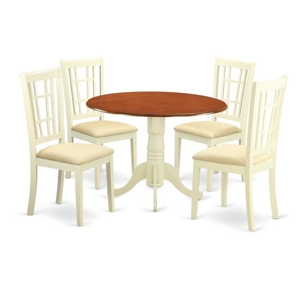 Dlni5-Bmk 5 Pc Dinette Set For 4-Dining Table And 4 Dinette Chairs in Caden 5 Piece Round Dining Sets With Upholstered Side Chairs